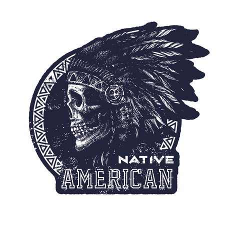 indian chief: skull indian chief hand drawing style vector illustration