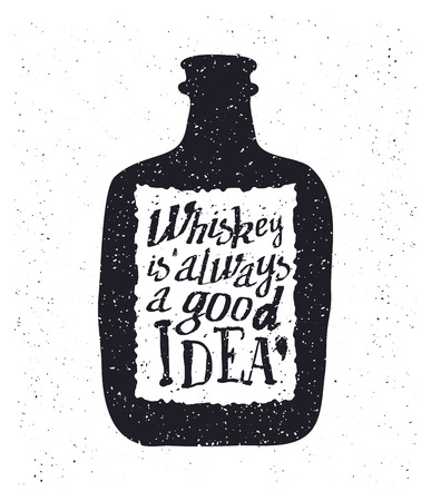 scotch: Whiskey bottle and handwritten lettering Whiskey is always a good idea on the canvas background. Vector illustration Illustration