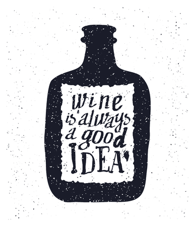 old english letter alphabet: Wine bottle and handwritten lettering Wine is always a good idea on the canvas background. Vector illustration Illustration
