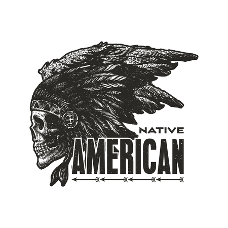 chief: skull indian chief hand drawing style vector illustration