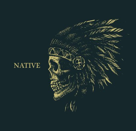 native american man: skull indian chief hand drawing style vector illustration
