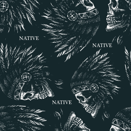 indian chief: skull indian chief hand drawing style seamless background vector illustration