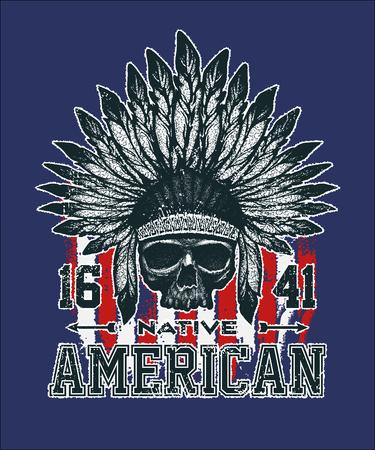 indios americanos: cráneo ilustración vectorial jefe de estilo de dibujo a mano indio