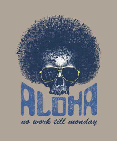 illustrazione Cranio con Hawaiitypography per la stampa t-shirt, illustrazione vettoriale Vettoriali
