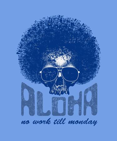 la: Skull illustration with Hawaiitypography for t-shirt print, vector illustration