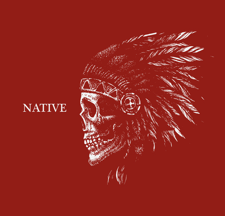 cherokee indian: skull indian chief hand drawing style vector illustration