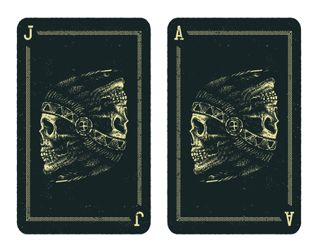 indian chief: Playing cards design. Skull indian chief hand drawing style