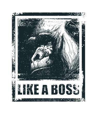 Fronte di scimmia come un boss Inscription Disegnato a mano illustrazione vettoriale.