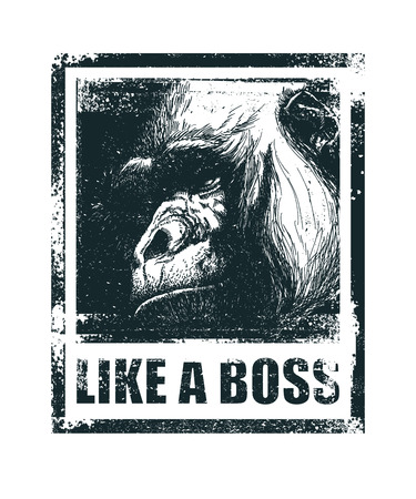 funny face: Monkey Face With Like A Boss Inscription Hand drawn Vector illustration. Illustration