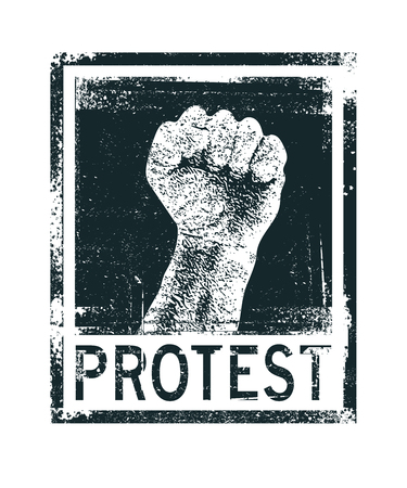 protest poster: Protest poster, raised fist held in protest. Vector illustration