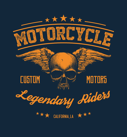 graphic illustration: Vintage Road king t-shirt graphic with wings. Design of the vector typographic of t-shirts and for other uses. Vector illustration.
