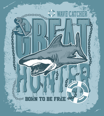 animal mouth: Shark on a colored background tattoo art great white shark template for printing on t-shirts vector illustration Illustration