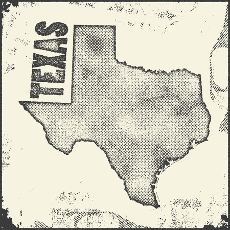 texturized: Texas vector map stamp. Retro distressed insignia with US state map. Hipster round rubber stamp with Texas state text banner, USA state map vector illustration.