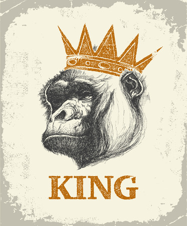 hilarious: Monkey Face With Like A Boss Inscription Hand drawn Vector illustration. Illustration