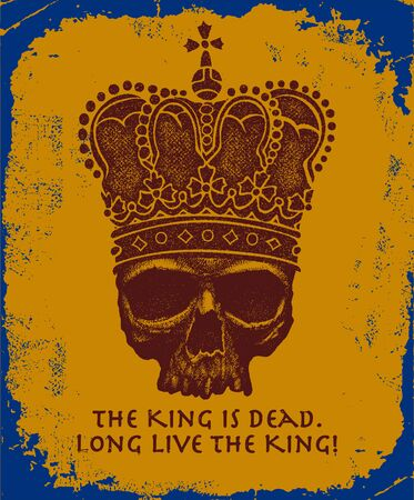 royal person: Hand drawn king skull wearing crown. Vector illustration Illustration