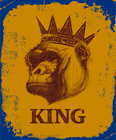 Monkey Face With King Inscription Hand drawn Vector illustration. Illustration