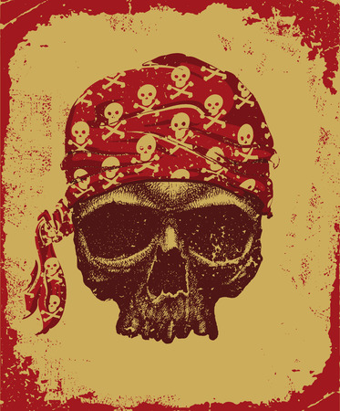 dreadful: Pirate skull with bandana vector illustration