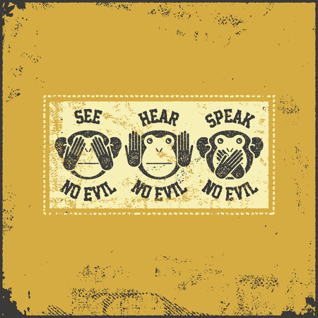 moral: See no evil, hear no evil, speak no evil. Vector illustration Illustration