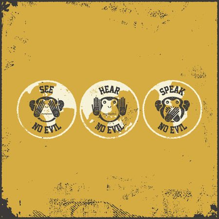 See no evil, hear no evil, speak no evil. Vector illustration Illustration