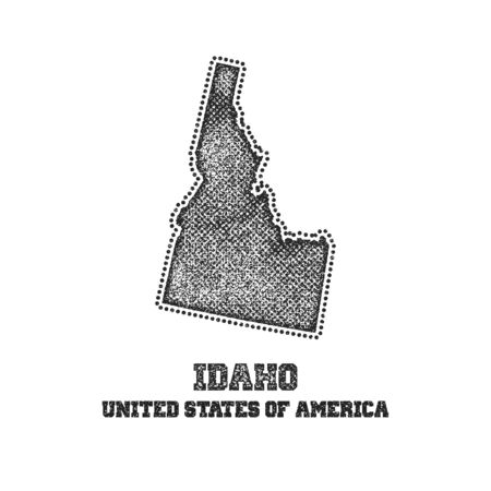 travel star: Label with map of idaho. Vector illustration.