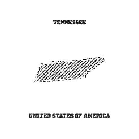 travel star: Label with map of tennessee. Vector illustration.