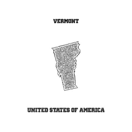 travel star: Label with map of vermont. Vector illustration.