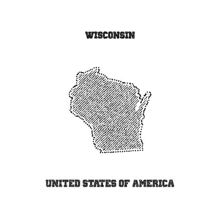 travel star: Label with map of wisconsin. Vector illustration. Illustration