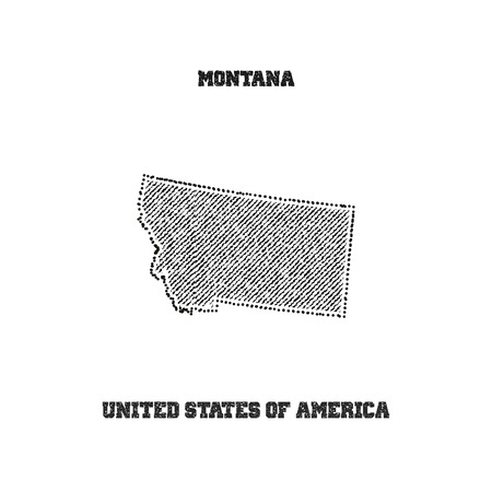 travel star: Label with map of montana. Vector illustration.