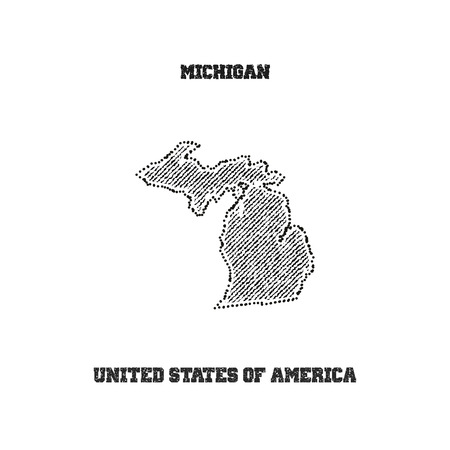 travel star: Label with map of michigan. Vector illustration.