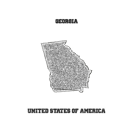 travel star: Label with map of georgia. Vector illustration.