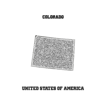 travel star: Label with map of colorado. Vector illustration.