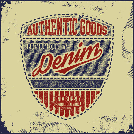 raw: Vintage Denim typography, grunge t-shirt graphics Illustration