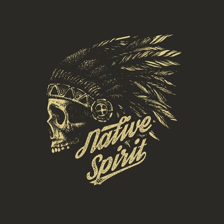 strong men: skull indian chief hand drawing style