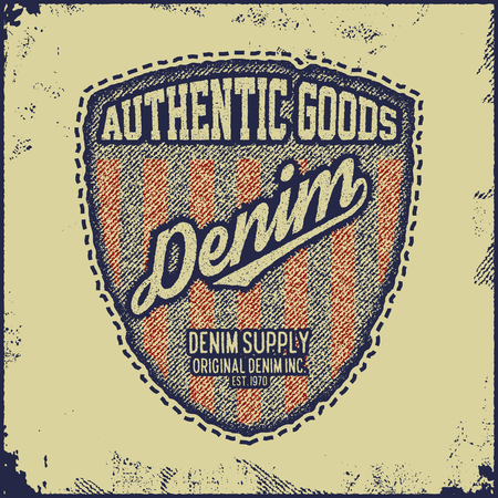 raw: Vintage Denim typography, grunge t-shirt graphics, vintage Artwork apparel stamp, Wear tee print design, Goods emblem, vector illustration