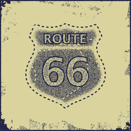 american history: route sixty six sign vector illustration Illustration