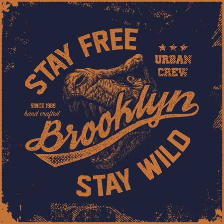 cru typographie brooklyn, t-shirts graphiques, illustration vectorielle