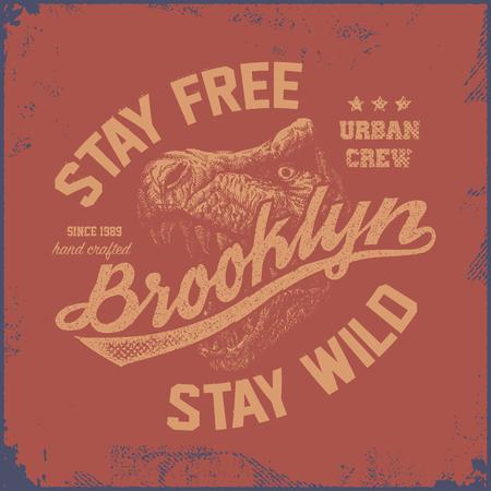 trex: vintage brooklyn typography, t-shirt graphics, vector illustration