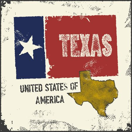 travel star: Label with map of texas. Vector illustration.