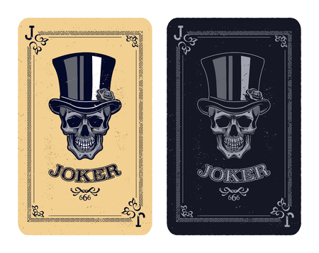 fearful: Joker playing card. skull poker card vector illustration