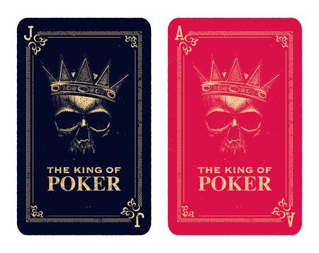 damnation: skull poker card vector illustration Illustration