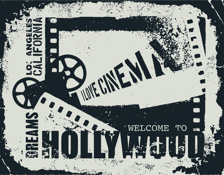 entertainment event: Template grunge cinema poster. Illustration