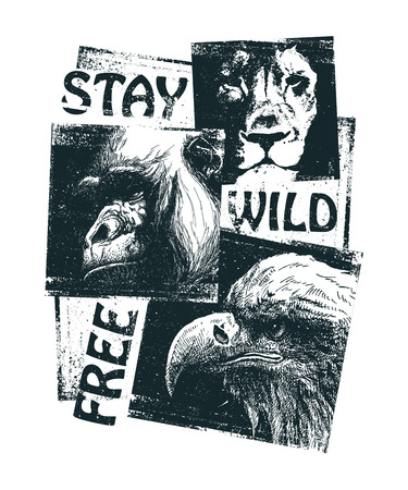 animal heads: Animal heads Hand drawn collage. Vector illustration.
