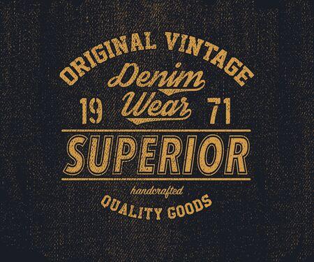 impresión original de la mezclilla de la vendimia para la camiseta ilustración vectorial