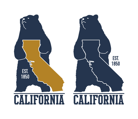 panoramic beach: California t-shirt with grizzly bear. Vector illustration Illustration