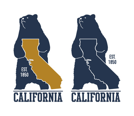 California t-shirt with grizzly bear. Vector illustration Stock Photo