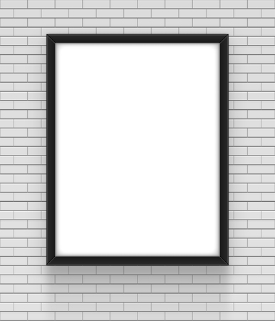 apartment: Frame on brick wall. Empty simple vector framing for presentation your illustrations, drawings, paintings, posters or photos.