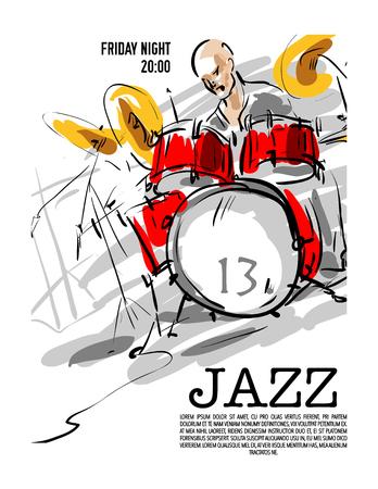ジャズ パーティー招待状のデザイン。ベクトルの図。