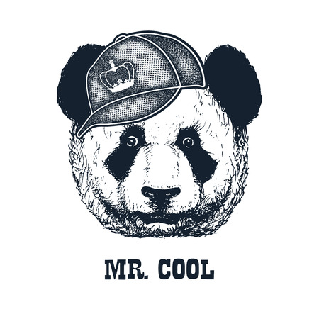 cool man: Hand drawn panda in black and white isolated on white