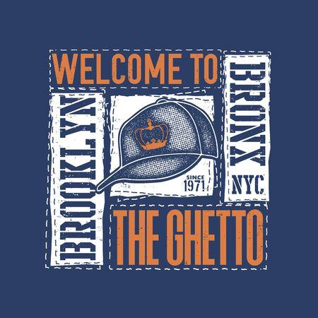 vintage urban typography with baseball cap, t-shirt graphics, vector illustration