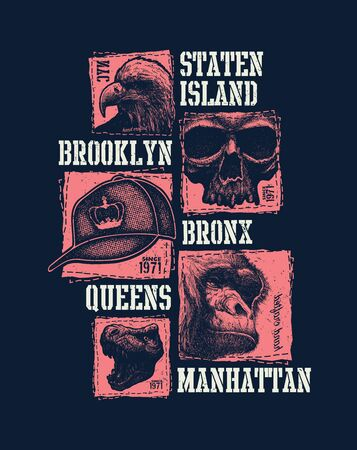 Vintage urban t-shirt graphics Illustration